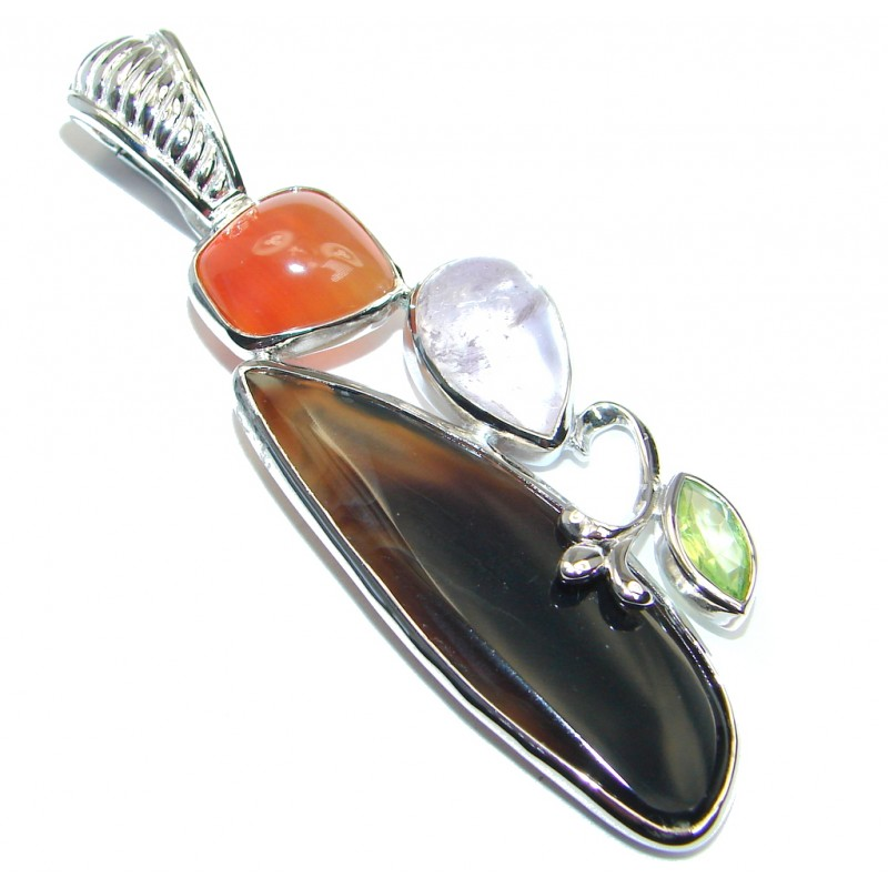 Perfect Botswana Agate Sterling Silver Pendant