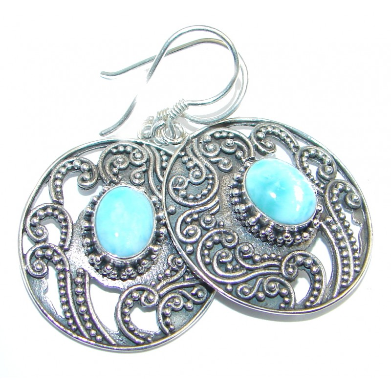 Precious Blue Larimar Oxidized Sterling Silver earrings