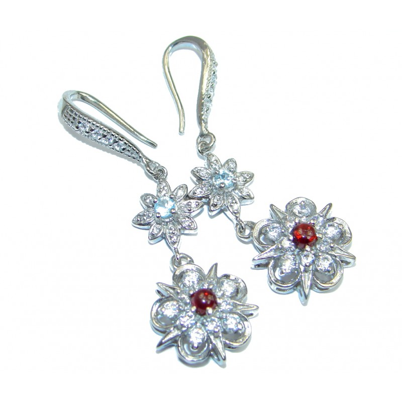 Classy White Topaz Garnet Sterling Silver earrings