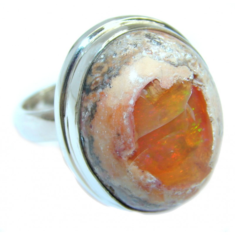 Fabulous AAA+ Mexican Fire Opal Oxidized Sterling Silver Ring size resizable