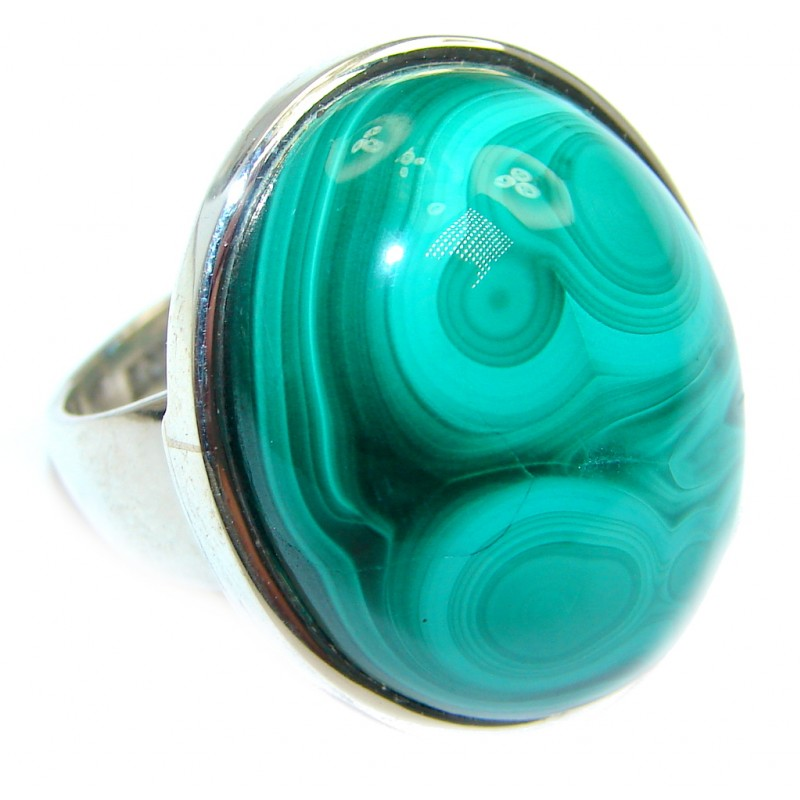 Natural AAA Green Malachite Sterling Silver ring size 8 1/2