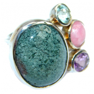 Supernova AAA+ Green Agate Prehnite Sterling Silver ring; s. 7