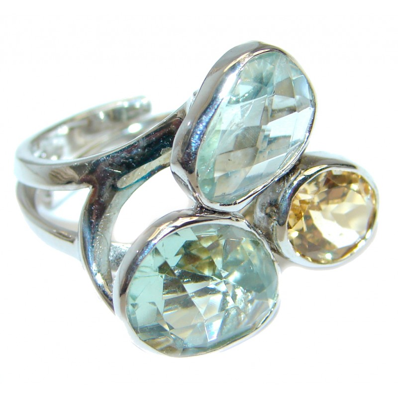Green Amethyst Citrine Sterling Silver Ring size adjustable