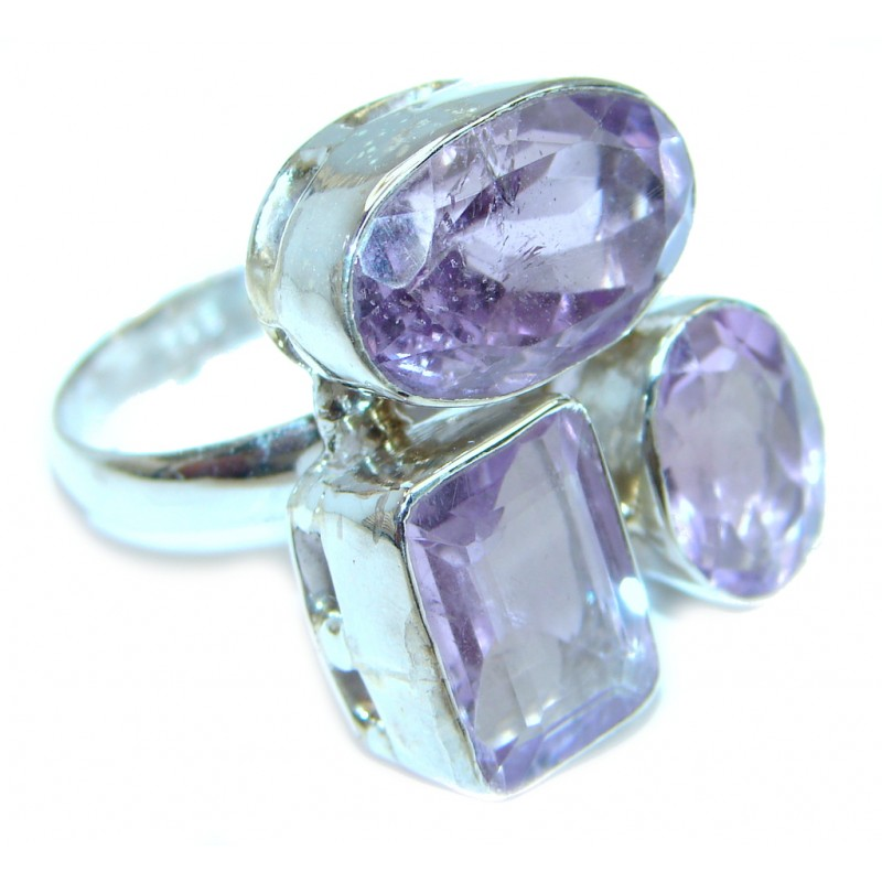 Genuine faceted Amethyst Sterling Silver ring size 10