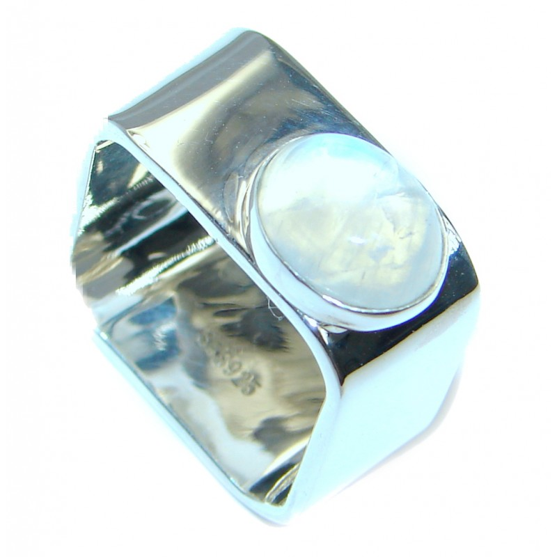 Perfect White Moonstone Sterling Silver Ring s. 8