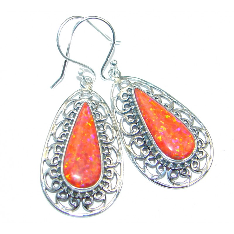 Lab Created Red Japanese Fire Opal Sterling Silver earrings