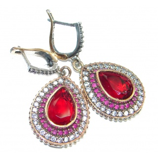 Victorian Style Snakes created Red Ruby copper over Sterling Silver earrings