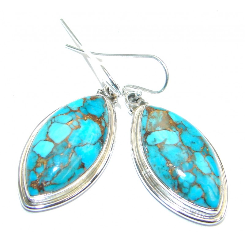 Solid Copper vains Turquoise Sterling Silver earrings