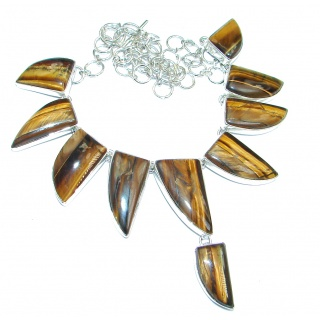 Perfect Gift AAA Golden Tigers Eye Sterling Silver handmade Necklace