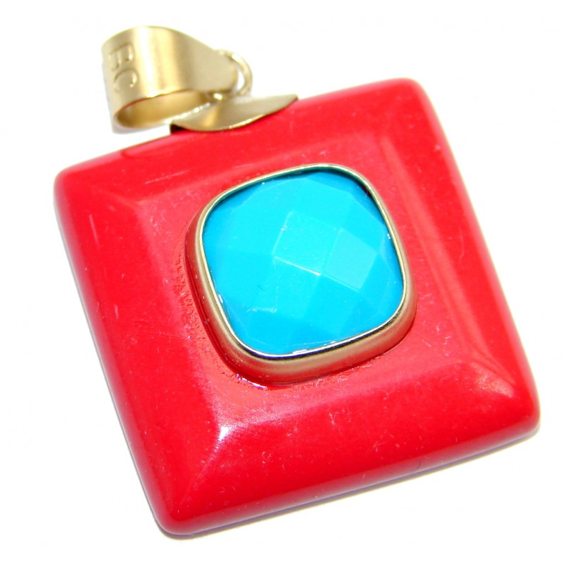 Created Blue Turquoise & Coral Sterling Silver Pendant