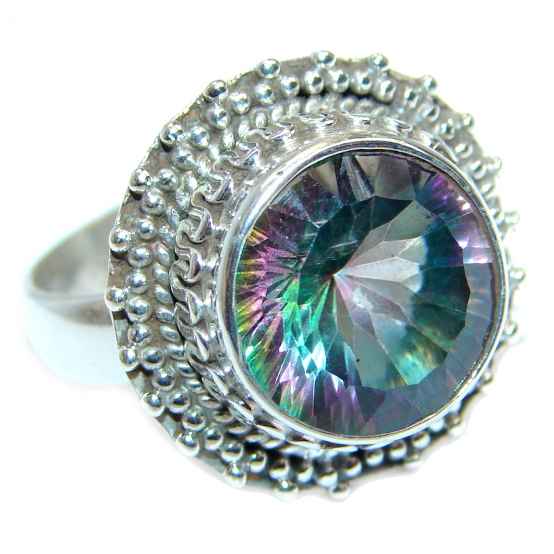 Galaxy Blue Rainbow Topaz Sterling Silver Ring s. 8