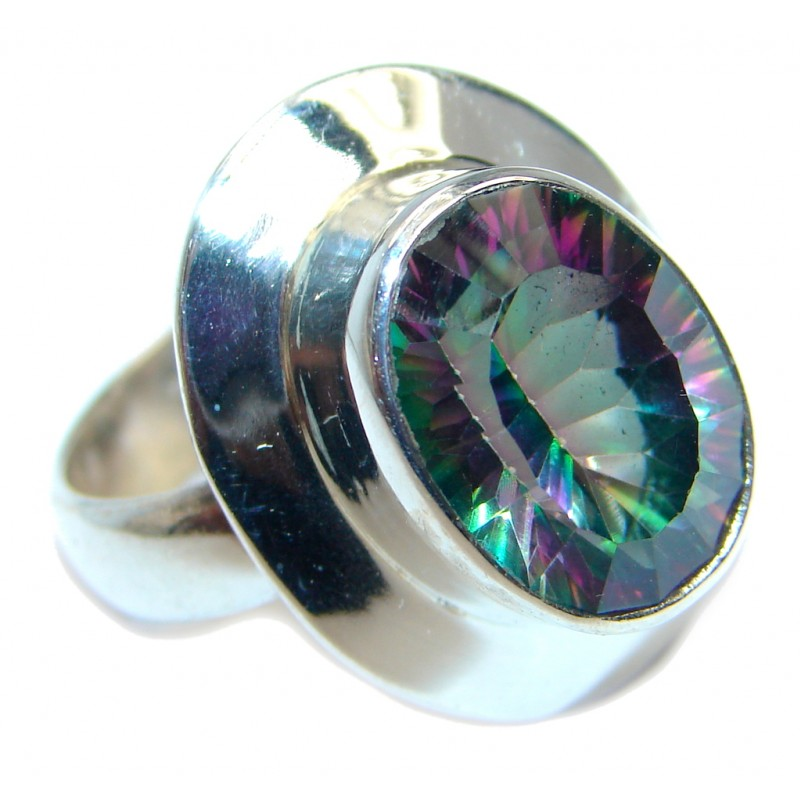 Galaxy Blue Rainbow Topaz Sterling Silver Ring s. 8 1/2