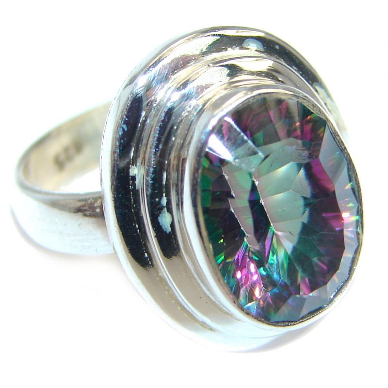 Galaxy Blue Rainbow Topaz Sterling Silver Ring s. 7