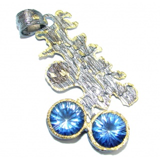 Blue Galaxy Topaz Gold Rhodium plated over Sterling Silver handmade Pendant