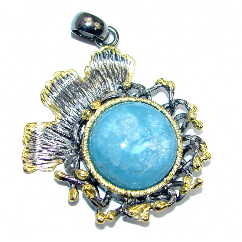 Genuine Blue Aquamarine Gold Rhodium plated over Sterling Silver Pendant