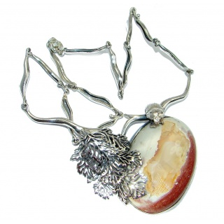 Great Mexican Fire Opal Oxidized Sterling Silver handmade Necklace