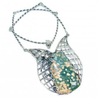 One of the kind Spiders's web AAA + Ocean Jasper Sterling Silver handmade necklace