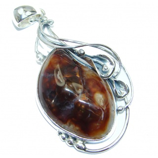 Perfect Authentic Fire Agate Sterling Silver handmade Pendant