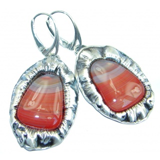 Long Chunky Botswana Agate Sterling Silver handmade earrings