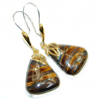 Golden Tigers Eye Two Tones Sterling Silver handcrafted Earrings