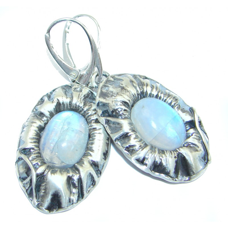 Rainbow Moonstone Oxidized Sterling Silver handmade earrings