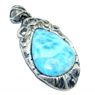 Genuine AAA quality Larimar Oxidized Sterling Silver handmade Pendant