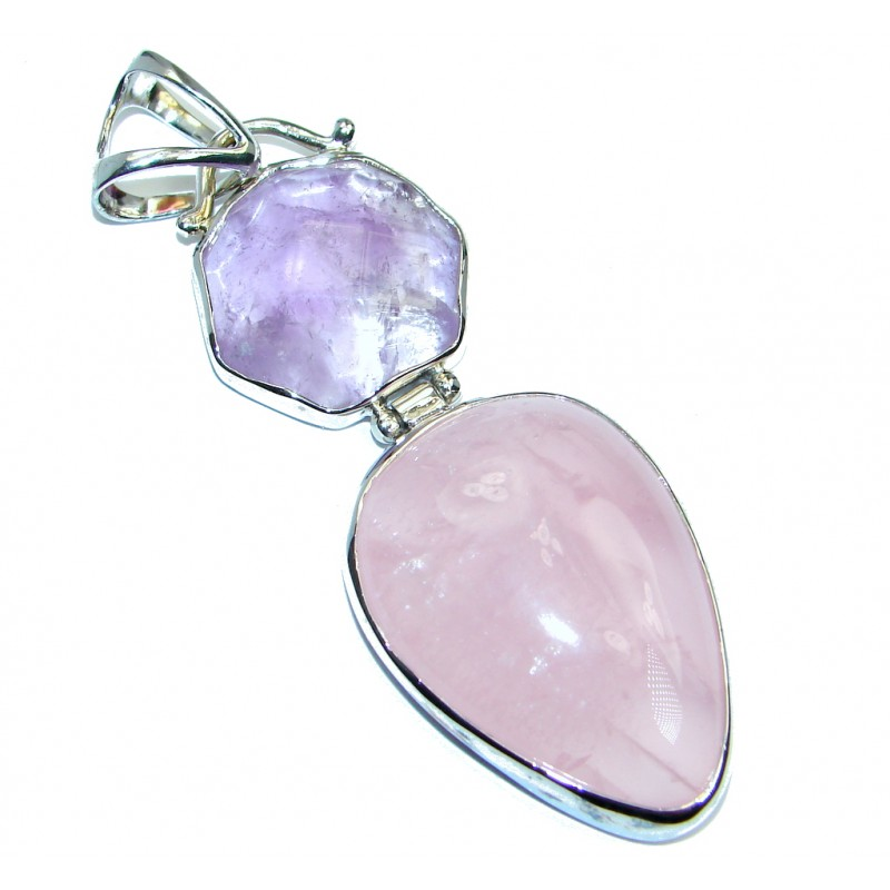 Perfect Rose Quartz Amethyst Sterling Silver Pendant