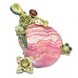 Vintage Design AAA Rhodochrosite Gold plated over Sterling Silver Pendant