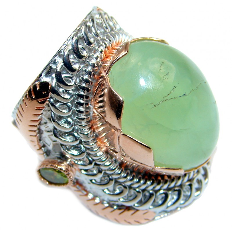 Large Moss Prehnite Peridot Rose Gold plated over Sterling Silver ring; s. 6