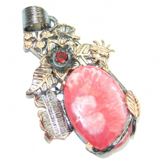 Vintage Design AAA Rhodochrosite Rose Gold plated over Sterling Silver Pendant