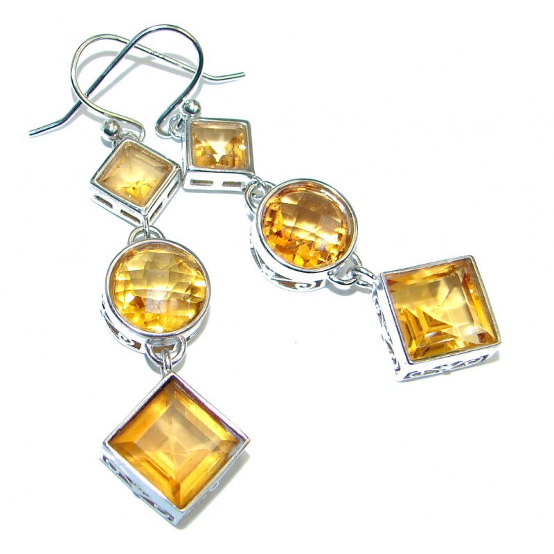 Perfect Shape Golden Quartz Sterling Silver earrings