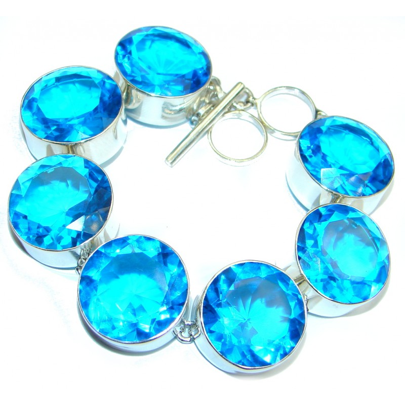 Ocean Passion created Blue Topaz Sterling Silver handcrafted Bracelet