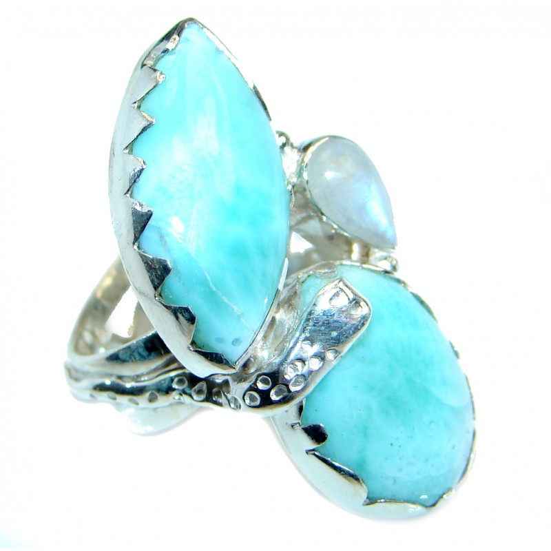 Genuine AAA Blue Larimar Sterling Silver handmade Ring size 6 1/4