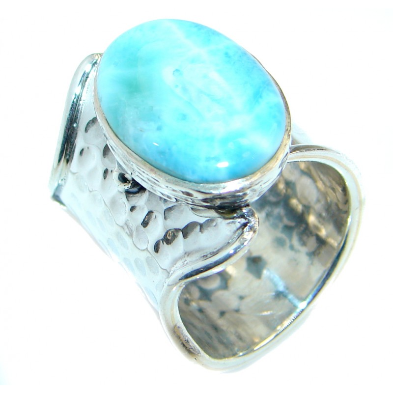 Genuine Larimar Sterling Silver handmade Ring size adjustable