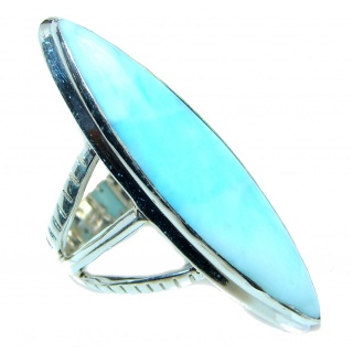 Genuine Large Larimar Sterling Silver handmade Ring size 8 3/4