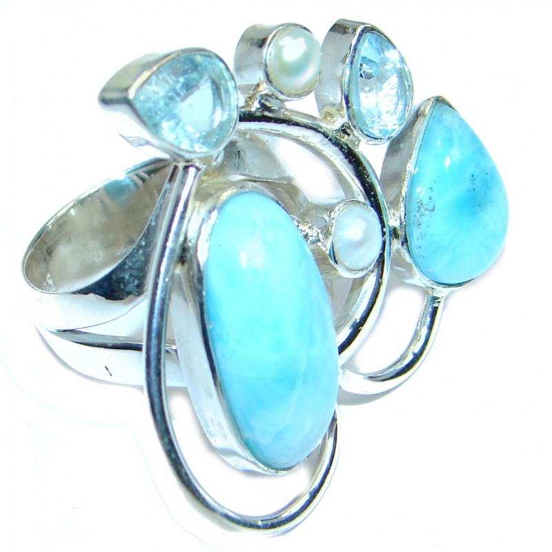 Genuine Larimar Gold over Sterling Silver handmade Ring size 7
