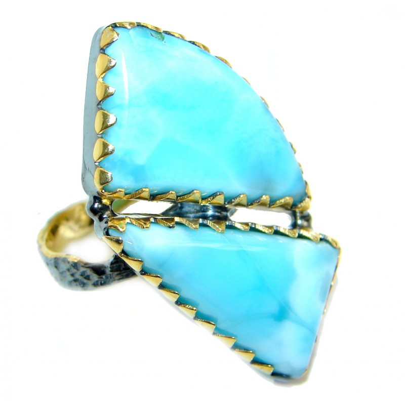 Genuine Larimar Gold over Sterling Silver handmade Ring size 7 1/4