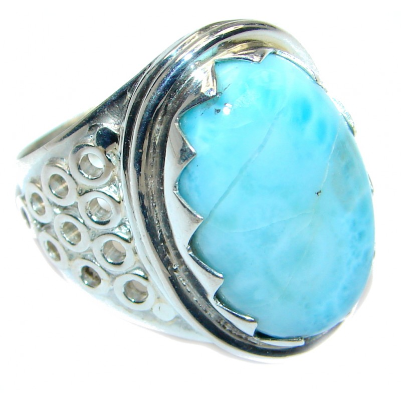 Natural Larimar Sterling Silver handmade Ring size 8