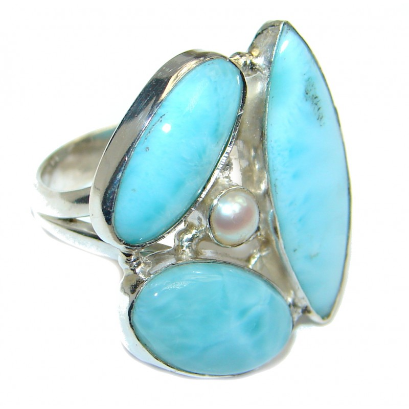 Larimar Pearl Sterling Silver handmade Ring size 6 1/4