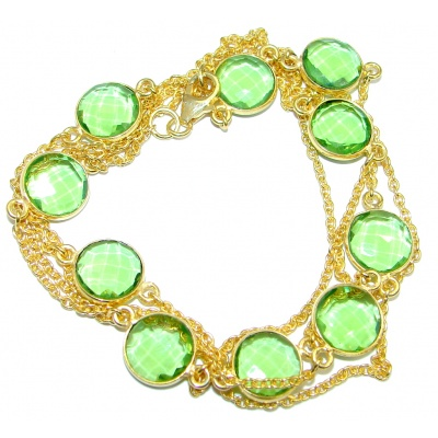 36 inches Created Peridot Gold over Sterling Silver Necklace