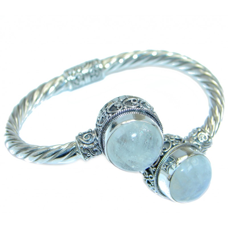 Real Treasure Fire Moonstone Sterling Silver handcrafted Bracelet / Cuff