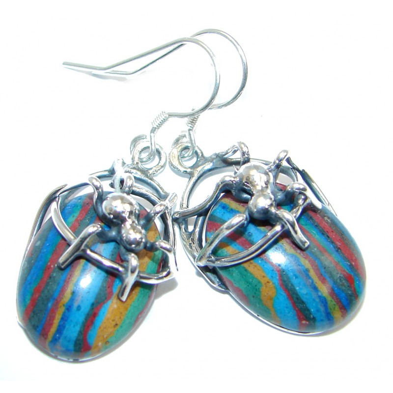 Spinders Rainbow Calsilica Sterling Silver handmade earrings