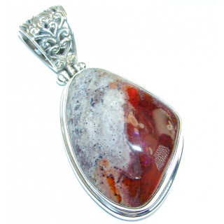 Mexican Fire Opal Oxidized Sterling Silver handmade Pendant