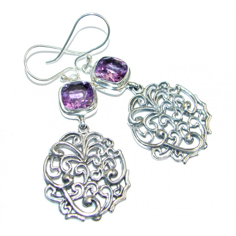 Perfect Purple Amethyst Sterling Silver handmade earrings