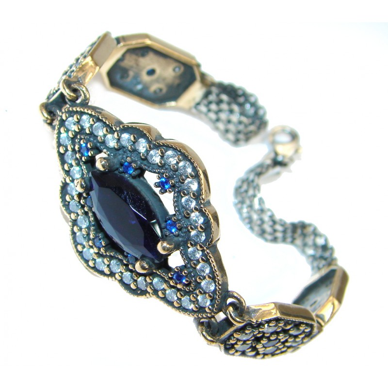 Victorian Style created Sapphire & White Topaz copper over Sterling Silver Bracelet