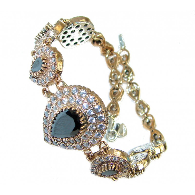 Victorian Style Onyx & White Topaz copper over Sterling Silver Bracelet