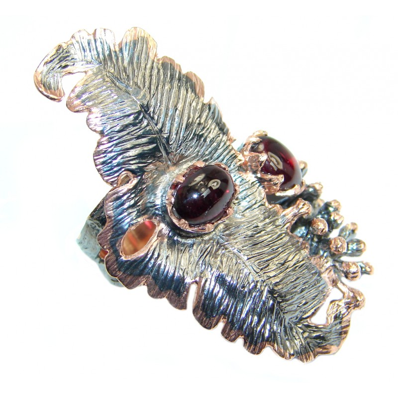 Large Tourmaline Rose Gold Rodium Plated over Sterling Silver Ring s. 6 1/2