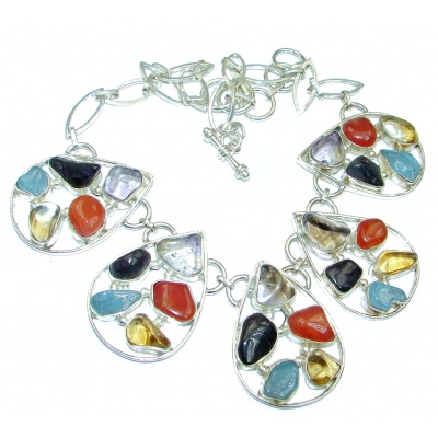 Large Aura Of Beaut Unpolished Multistone Sterling Silver handmade necklace