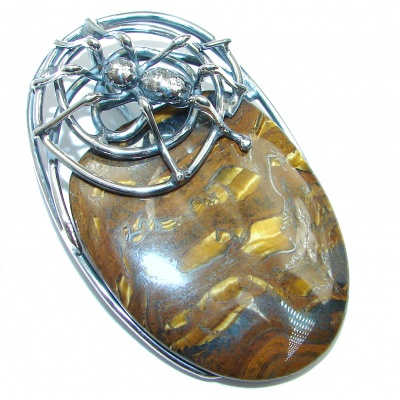 Spiders's Web Golden Tigers Eye Sterling Silver handmade Pendant