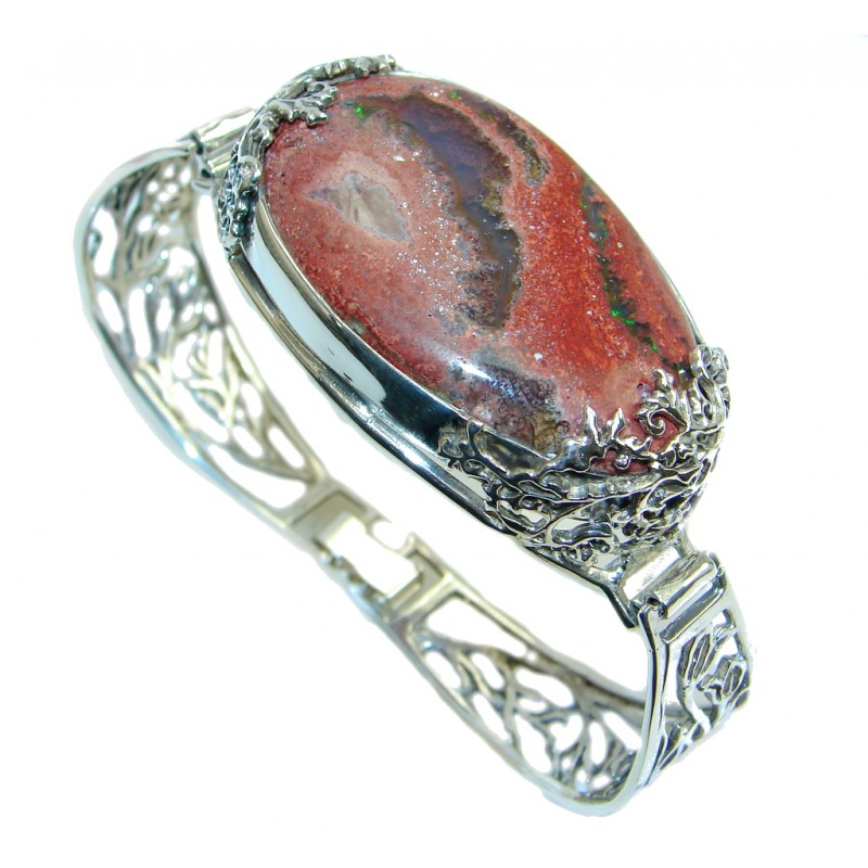 One of the kind Mexican Fire Opal hammered Sterling Silver Bracelet / Cuff